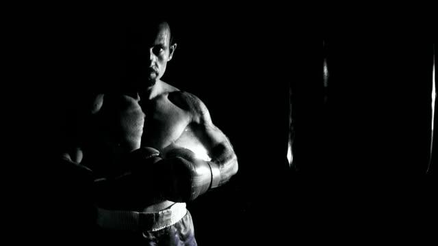 hd-super langsam mo: porträt von ein professioneller boxer - belly punching stock-videos und b-roll-filmmaterial