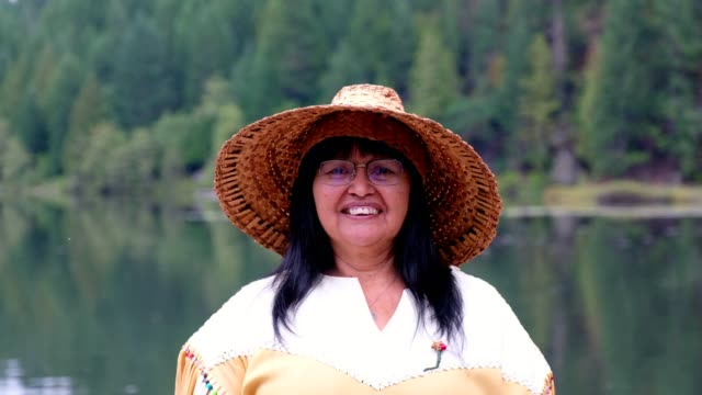 portrait of a senior indigenous canadian woman - traditionally canadian stock videos & royalty-free footage