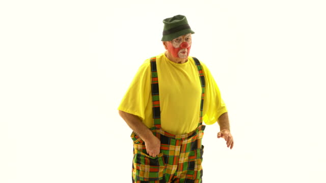portrait of a senior male circus clown facial expression - circus stock videos & royalty-free footage
