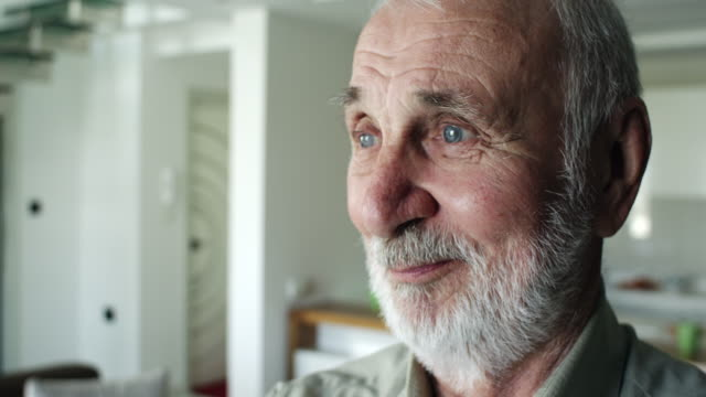 portrait of a senior man at home - grey hair stock videos & royalty-free footage