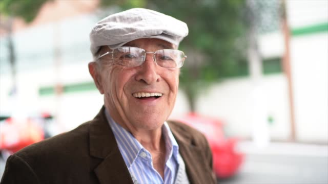 portrait of a senior man in the street - one senior man only stock videos & royalty-free footage
