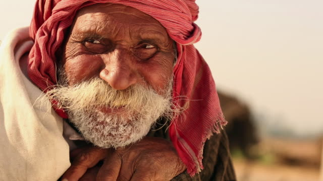 portrait of a senior man laughing, ballabhgarh, haryana, india - customs stock videos & royalty-free footage