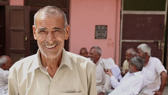 portrait of a senior man smiling, haryana, india - one senior man only stock videos and b-roll footage