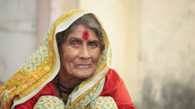 portrait of a senior woman, malshej ghat, maharashtra, india - india video stock e b–roll