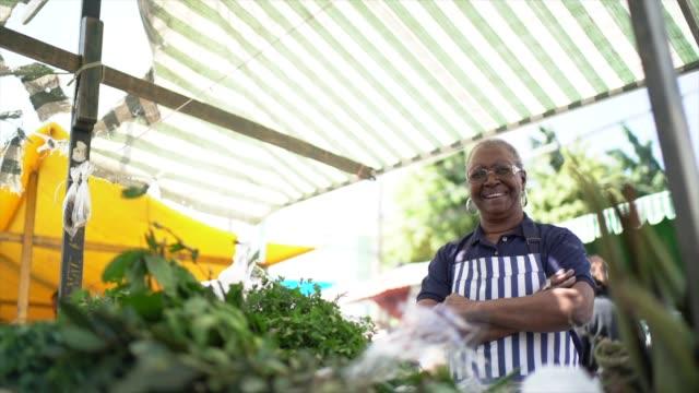 portrait of a senior woman working in a street market - brazilian culture stock videos & royalty-free footage