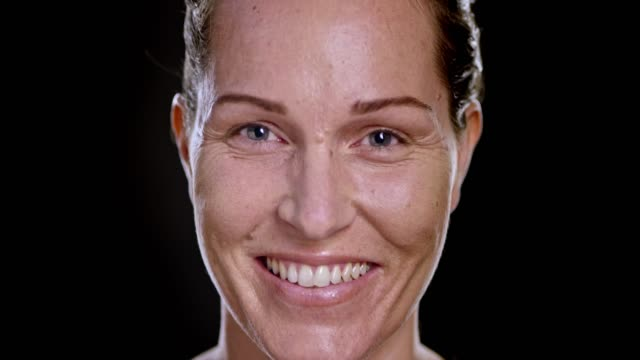 portrait of a smiling caucasian woman - skin feature stock videos & royalty-free footage
