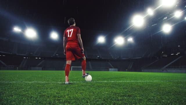 ds portrait of a soccer player with one foot on the ball - standing stock videos & royalty-free footage