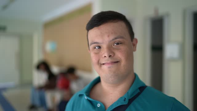 portrait of a special needs student in the university campus - dedication stock videos & royalty-free footage