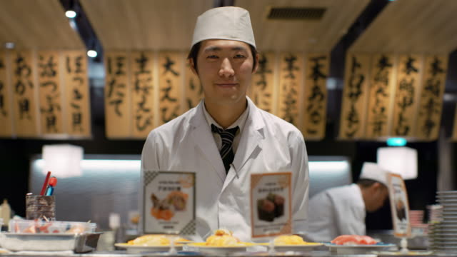ms portrait of a sushi chef / tokyo, japan - sushi video stock e b–roll