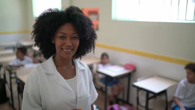 vídeos de stock e filmes b-roll de portrait of a teacher in the classroom - professora