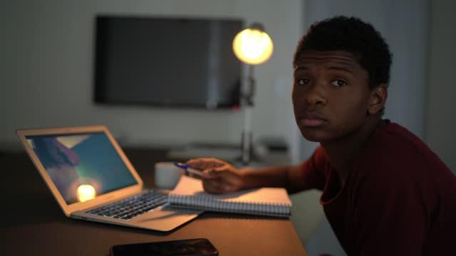 porträt eines teenagers, der zu hause studiert - nur teenager stock-videos und b-roll-filmmaterial