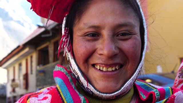 portrait of a traditional peruvian woman - peru stock videos & royalty-free footage