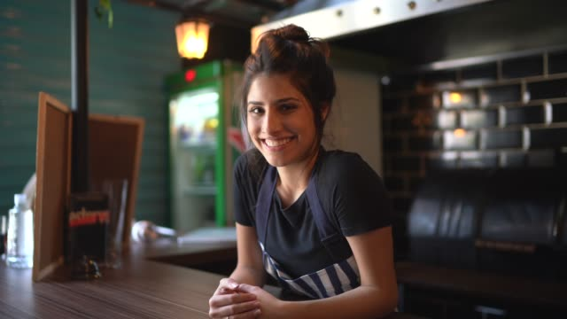 portrait of a waitress behind the counter - entrepreneur stock videos & royalty-free footage