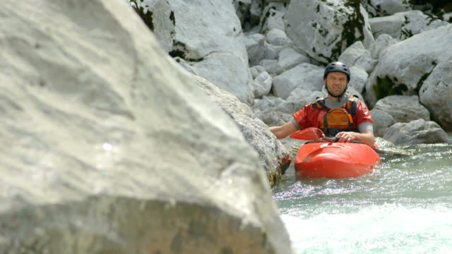 hd: portrait of a whitewater kayaker - rapid stock videos & royalty-free footage