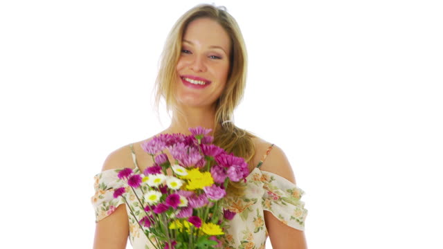 portrait of a woman holding flowers - bunch of flowers stock videos and b-roll footage