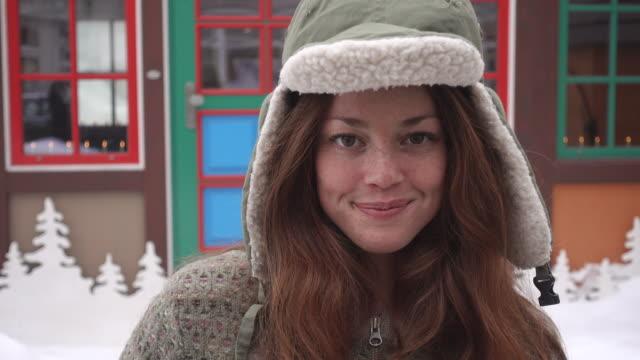 Portrait of a woman wearing a warm hat