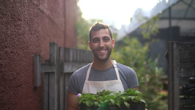 portrait of a young florist holding a box full of seedlings - farmer's market stock videos & royalty-free footage