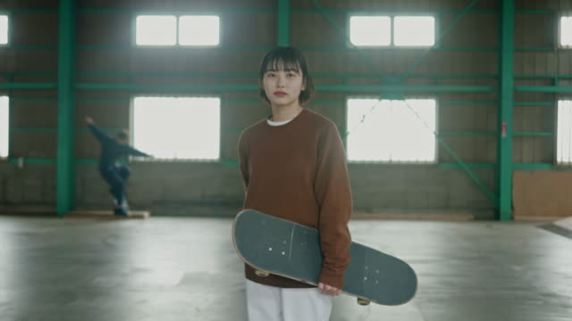 portrait of a young japanese skateboarder - attitude stock videos & royalty-free footage