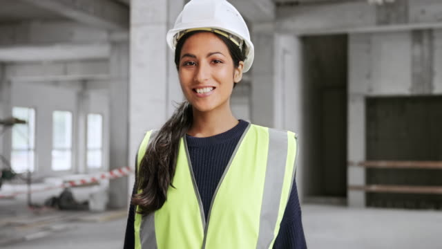 portrait of a young smiling indian female architect - long hair stock videos & royalty-free footage