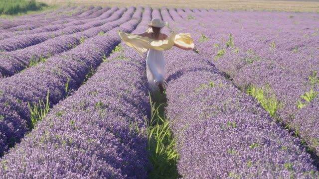 portrait of a young smiling teenager dressed in white in the middle of the blooming lavender fields. wanderlust. - wonderlust stock videos & royalty-free footage