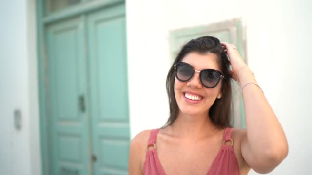 portrait of a young woman during vacations in greece - pardo brazilian stock videos & royalty-free footage