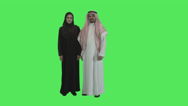 portrait of adult arabic couple looking to camera - middle eastern culture stock videos and b-roll footage
