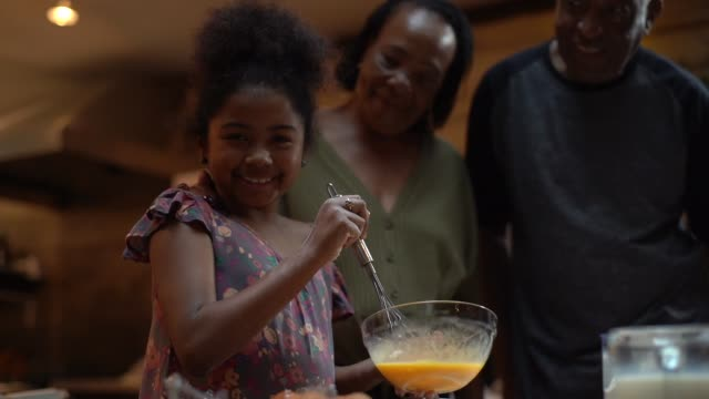 vídeos de stock e filmes b-roll de portrait of afro hispanic-latino grandparents teaching her granddaughter how to cook - latino americano
