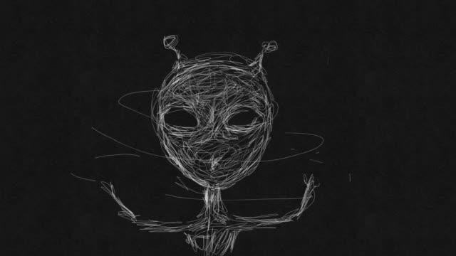 vídeos de stock e filmes b-roll de portrait of alien - extraterrestre