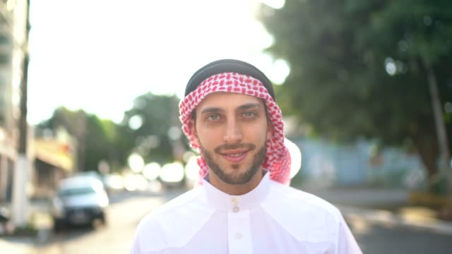 portrait of arab middle east man at street - middle eastern culture stock videos & royalty-free footage