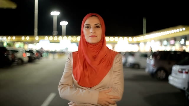 portrait of arab woman on the street - middle east stock videos & royalty-free footage