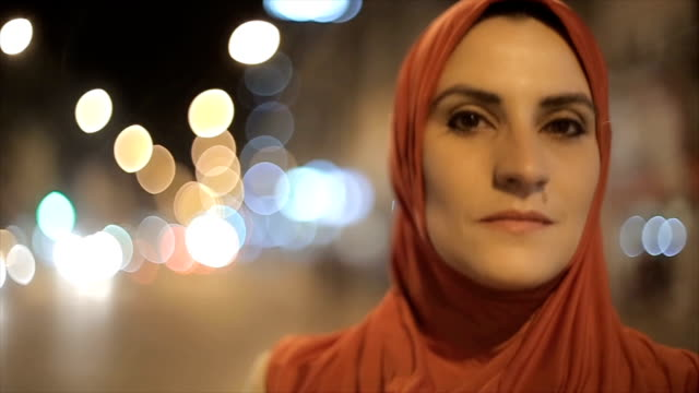 portrait of arab woman on the street - hijab stock videos and b-roll footage