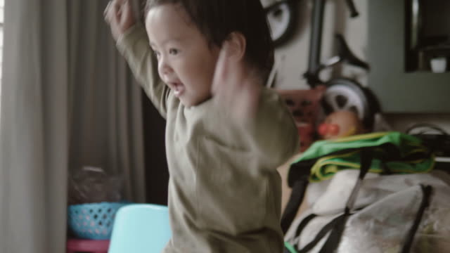 portrait of asian baby boy dancing - 12 23 months stock videos & royalty-free footage