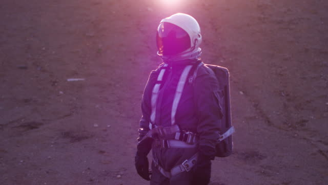 portrait of astronaut in space suit - space helmet stock videos & royalty-free footage