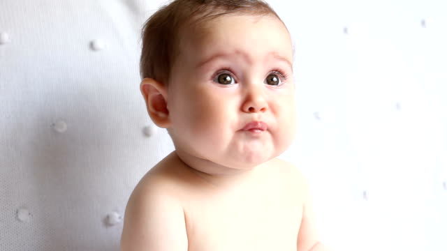 portrait of baby eating lemon - babies only stock videos & royalty-free footage