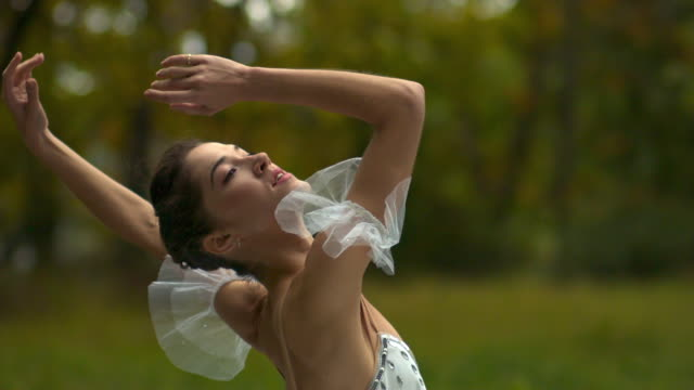 portrait of ballerina performing in nature - ニューパルツ点の映像素材/bロール