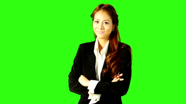 portrait of beautiful business woman with green screen background - stand stock videos & royalty-free footage