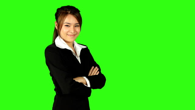portrait of beautiful business woman with green screen background - keyable stock videos & royalty-free footage