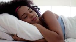 Portrait Of Beautiful Happy Black Girl Waking Up Slow Motion
