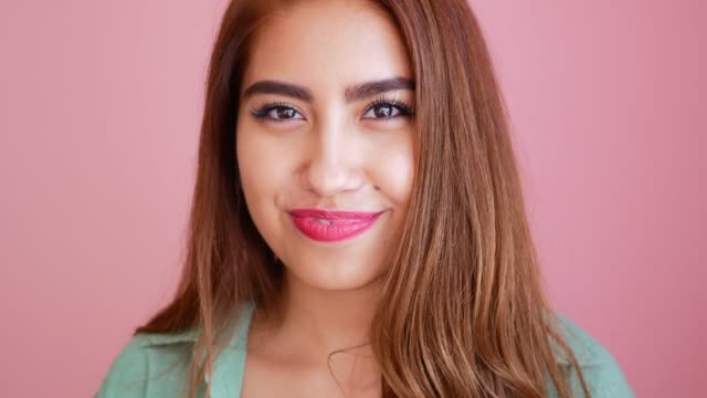 portrait of beautiful latina young woman with red lipstick - mexican ethnicity stock videos & royalty-free footage