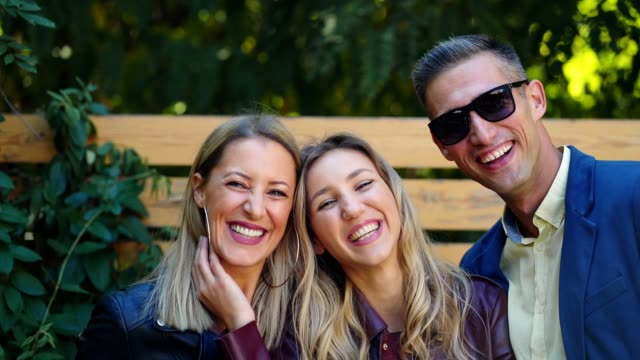 portrait of beautiful smiling friends - small group of people stock videos & royalty-free footage