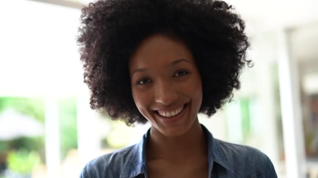 portrait of beautiful woman at home - short hair stock videos & royalty-free footage