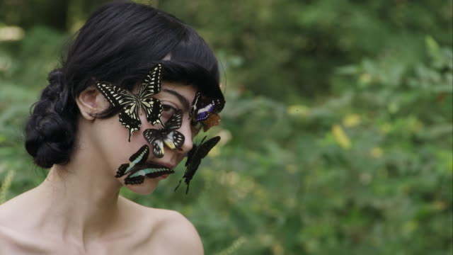 portrait of beautiful young woman with butterflies on her face - アルスター郡点の映像素材/bロール