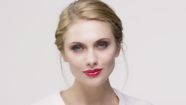 portrait of beautiful young woman with make-up - red lipstick stock videos & royalty-free footage