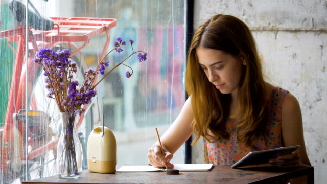 portrait of beautiful young woman with with pen writing on notebook at coffee shop - personal organiser stock videos and b-roll footage