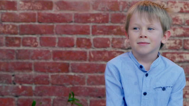 portrait of boy 6 years old. - schoolboy stock videos and b-roll footage