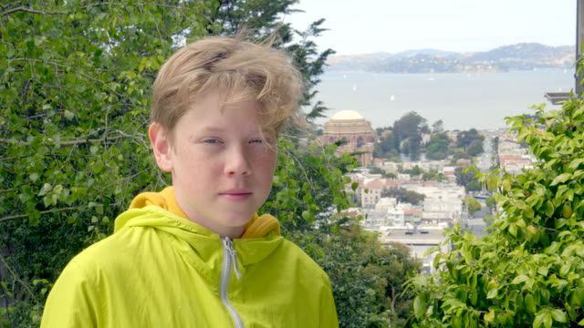 portrait of boy in san francisco - one teenage boy only stock videos & royalty-free footage