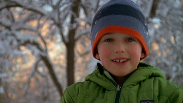 CU, Portrait of boy (6-7) outdoors, Winter, Yarmouth, Maine, USA