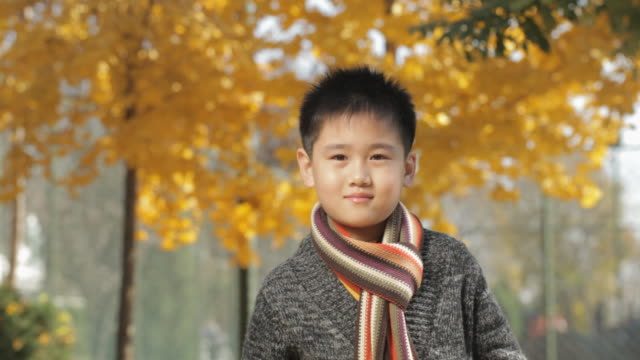 MS Portrait of boy wearing scarf, smiling at camera in park / China