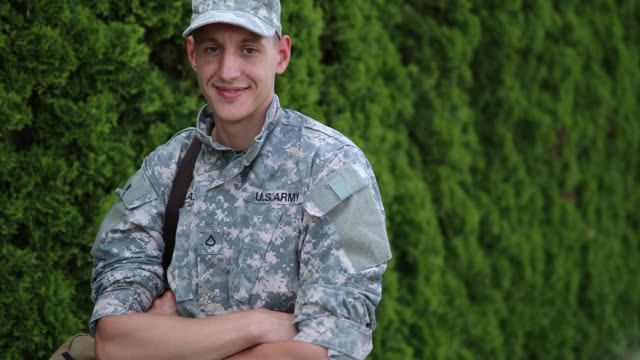 portrait of brave young soldier - young war veteran stock videos & royalty-free footage