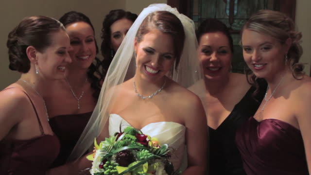 portrait of bride, mother and bridesmaids - earring stock videos and b-roll footage